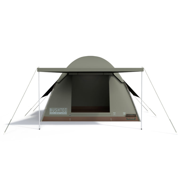 Bowfront tent opened