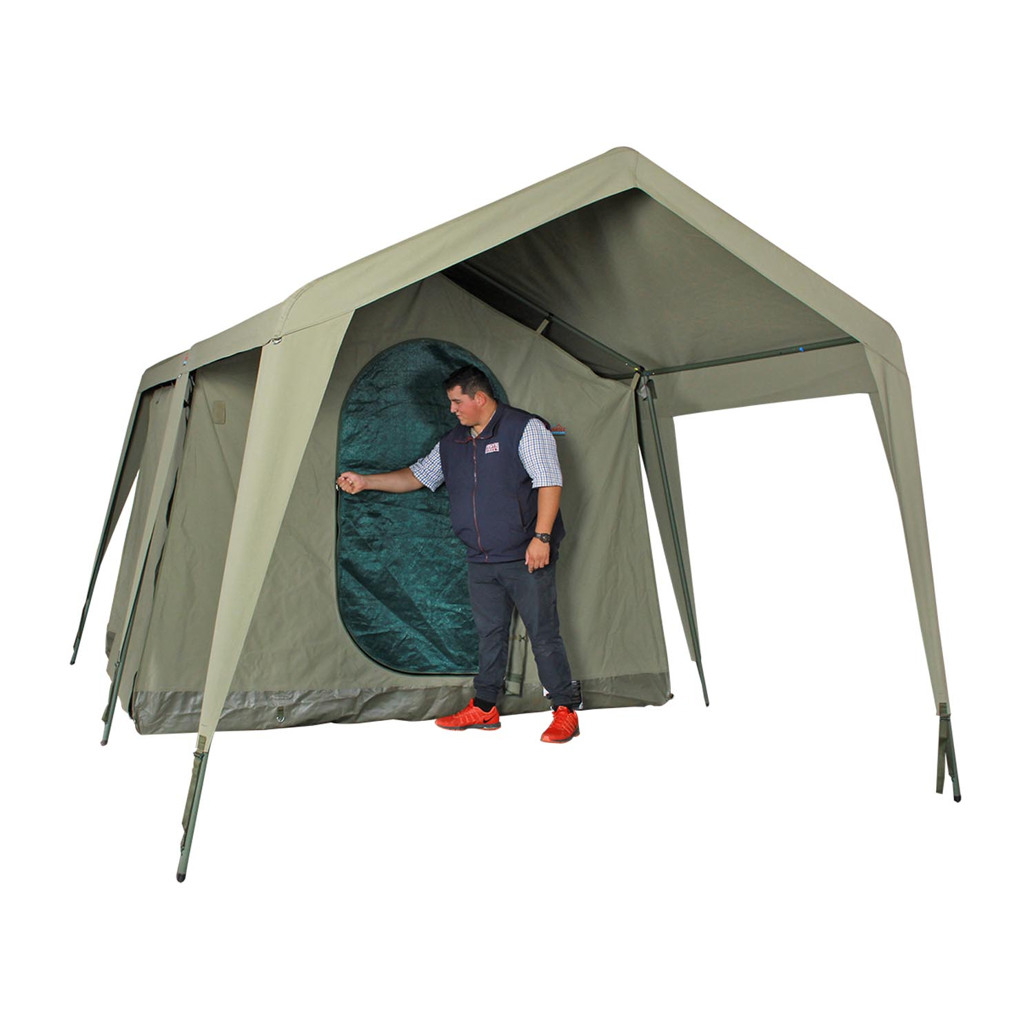 Canvas Cabin Wall Tent White Roll Up Sides Canvas Tent Bed