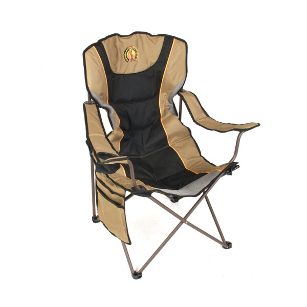 Black and Tan Folding Outdoor Chair