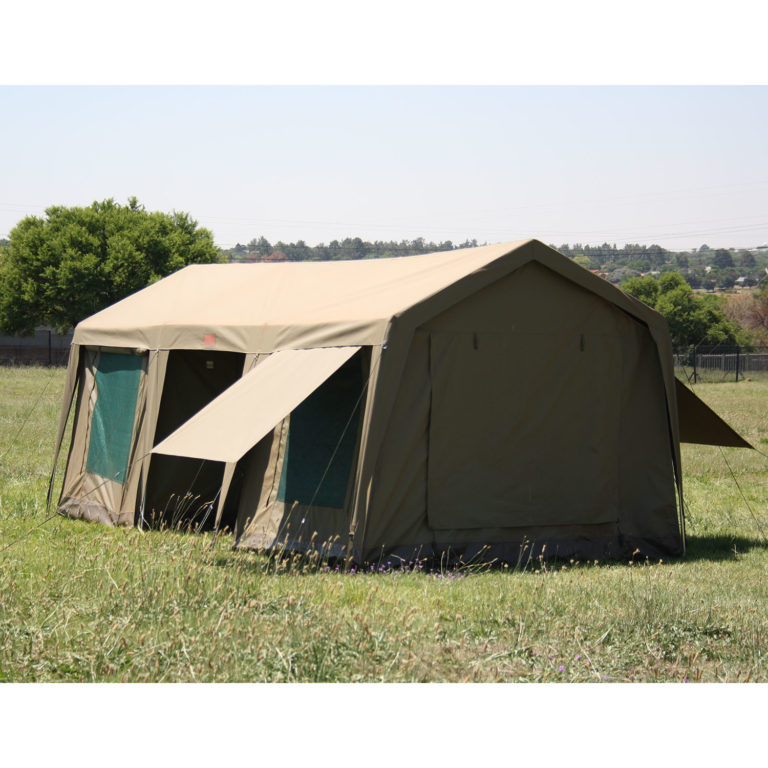Side view of beige tent